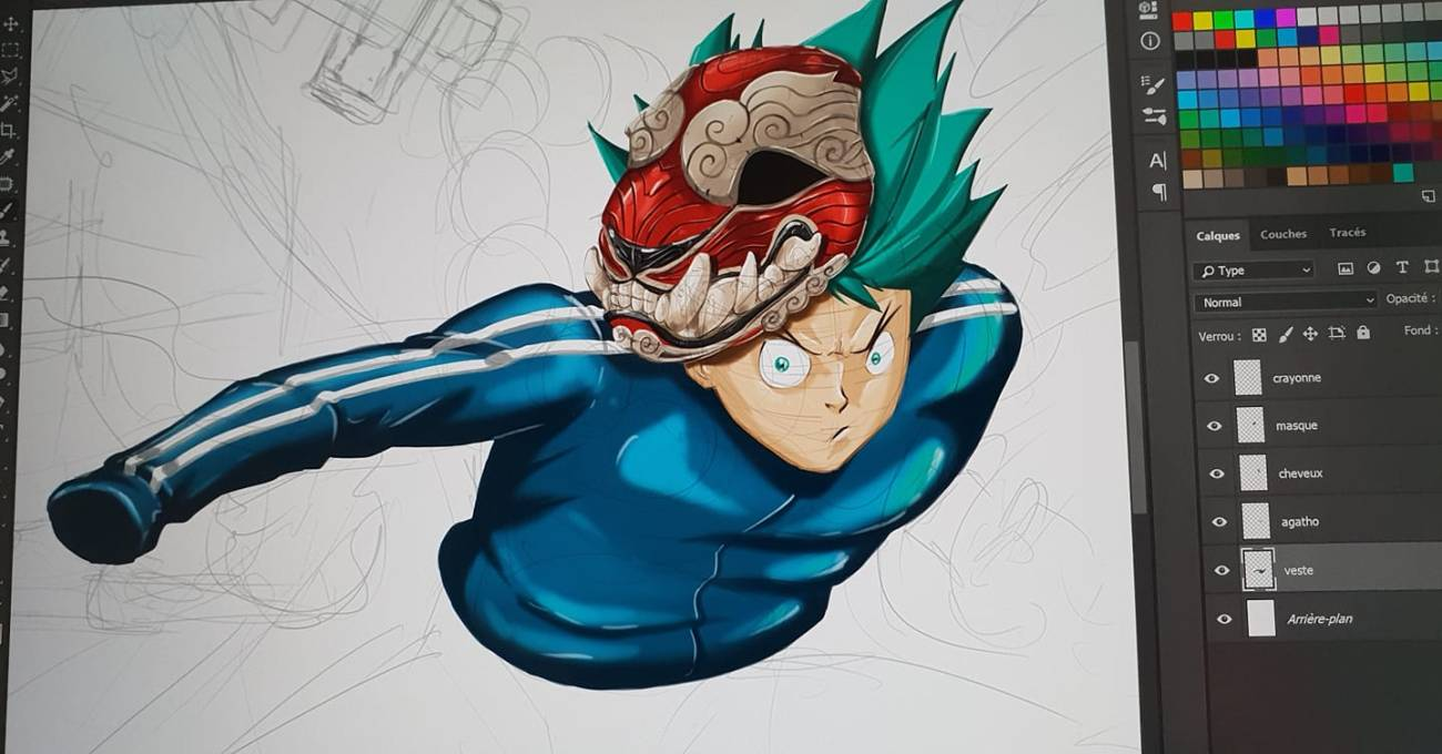 Photographie du travail du mangaka sur Redskin